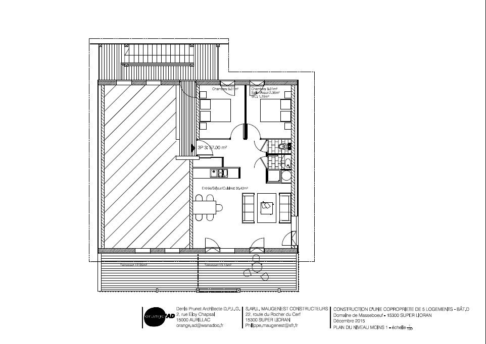 Chalet d appartement n 03 n 1 t3 lot d 03 les terrasses for Garage ad aurillac